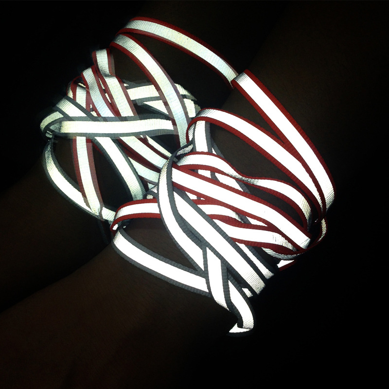 Creative Double-sided Reflective Shoelaces Fashion Tide Night Running Sports Shoes Hot Selling Wholesale Warning Laces 3