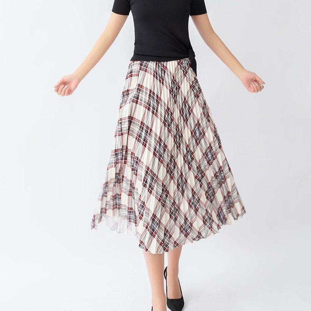 WomenTwill полосатые юбки, модные женские плиссированные юбки средней длины, шикарная уличная одежда для девочек, плиссированные юбки с высокой