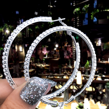 4/5/6CM Big Hollow Round Earrings For Women New Vintage Silver Drop Earring Hanging Fashion Luxury Rhinestone Jewelry