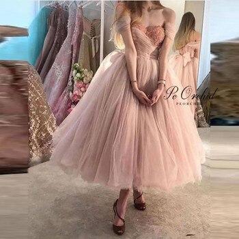 PEORCHID 2020 розовое платье на выпускной бальное платье с открытыми плечами длиной до середины икры Vestido De Baile Curto плиссированные тюлевые вечерни