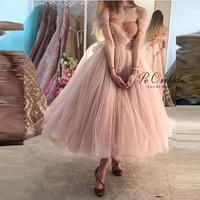 PEORCHID 2020 Pink Prom Dress Ball Gown Off Shoulder Tea Length Vestido De Baile Curto Pleated Tulle Lace Evening Gowns