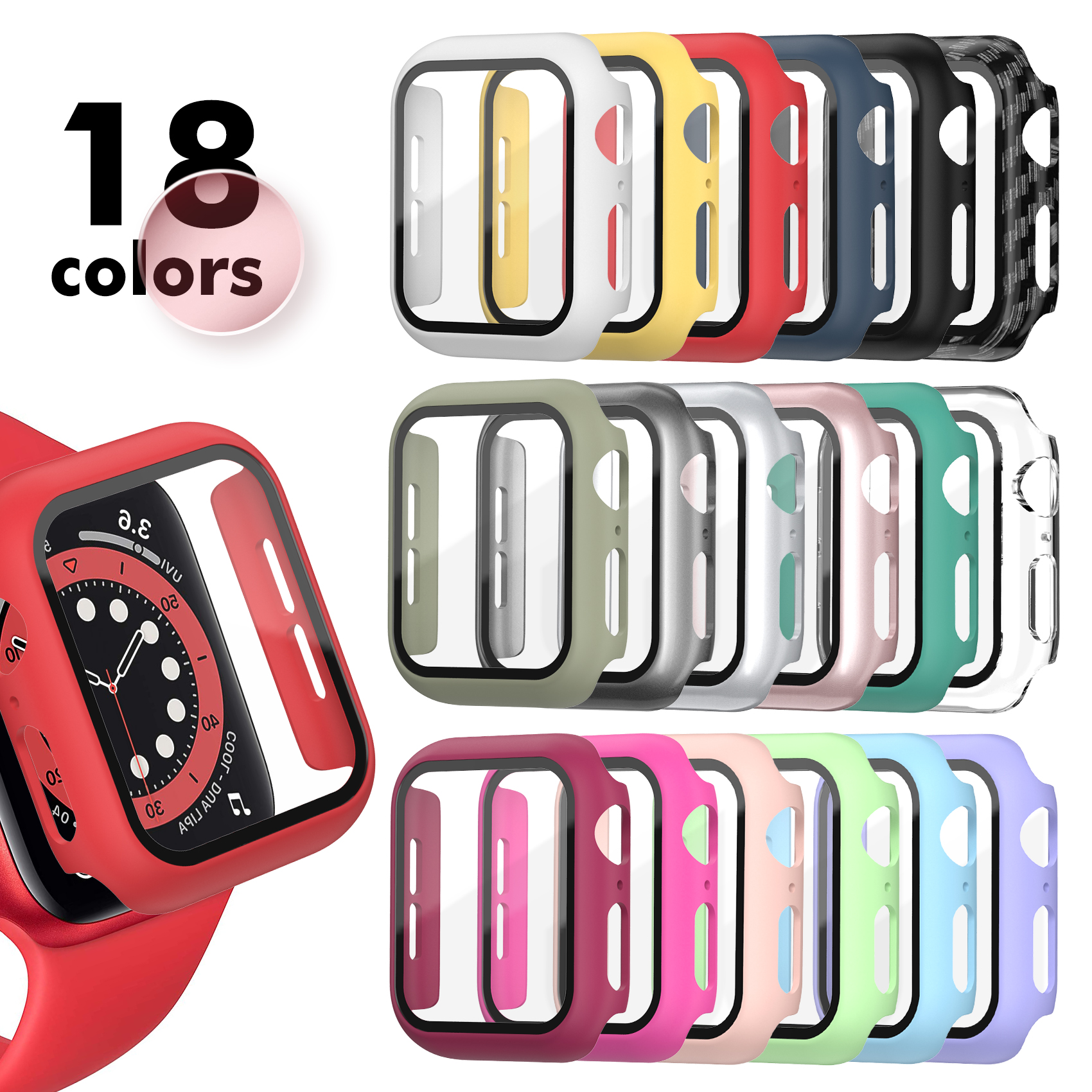 Tempered Glass+Matte Watch Cover for Apple Watch Case 44mm 40mm 42mm 38mm Bumper+Screen Protector for Iwatch SE 6 5 4 3 2 1