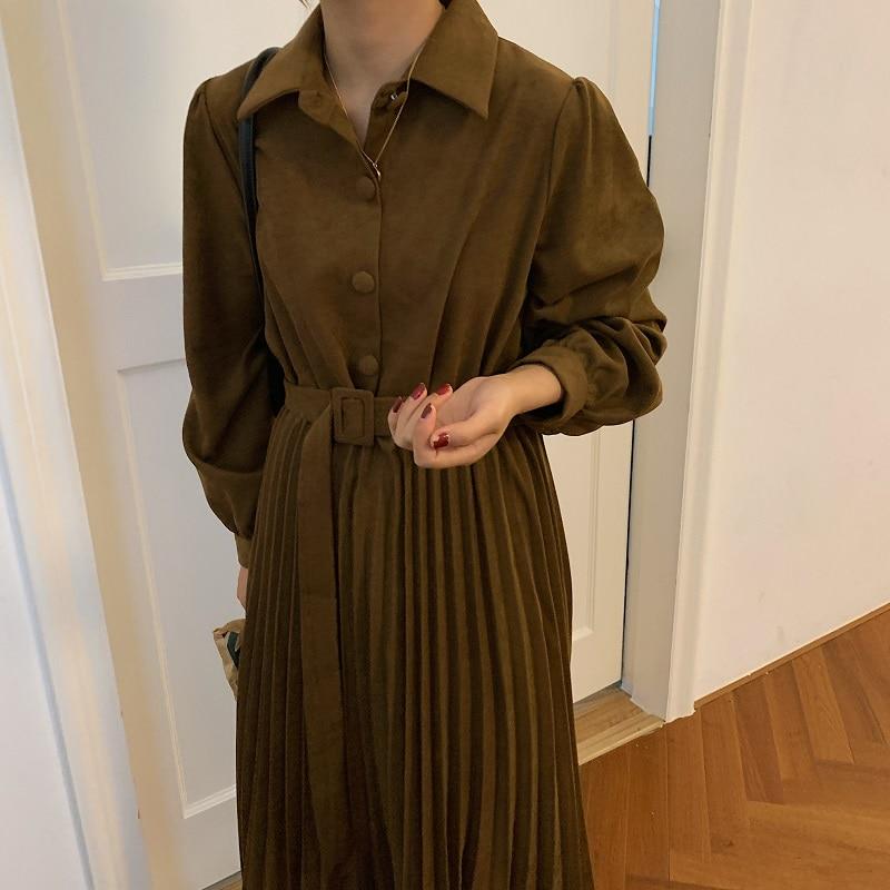 H02af1def06754f6eb9a089b5d703f911i - Autumn Turn-Down Collar Long Sleeves Pleated Solid Midi Dress