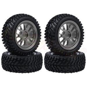 Image 4 - 4pcs 75x28mm Tires & Aluminum Wheels 7mm Hubs for WLtoys A959 A949 A969 A979 A959B A969B A979B 1/18 RC Car Spare Parts