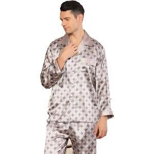 Image 4 - Conjunto de pijama de seda de imitación para hombre, camisón de manga larga suave, Tops, pantalones, ropa de dormir, hogar