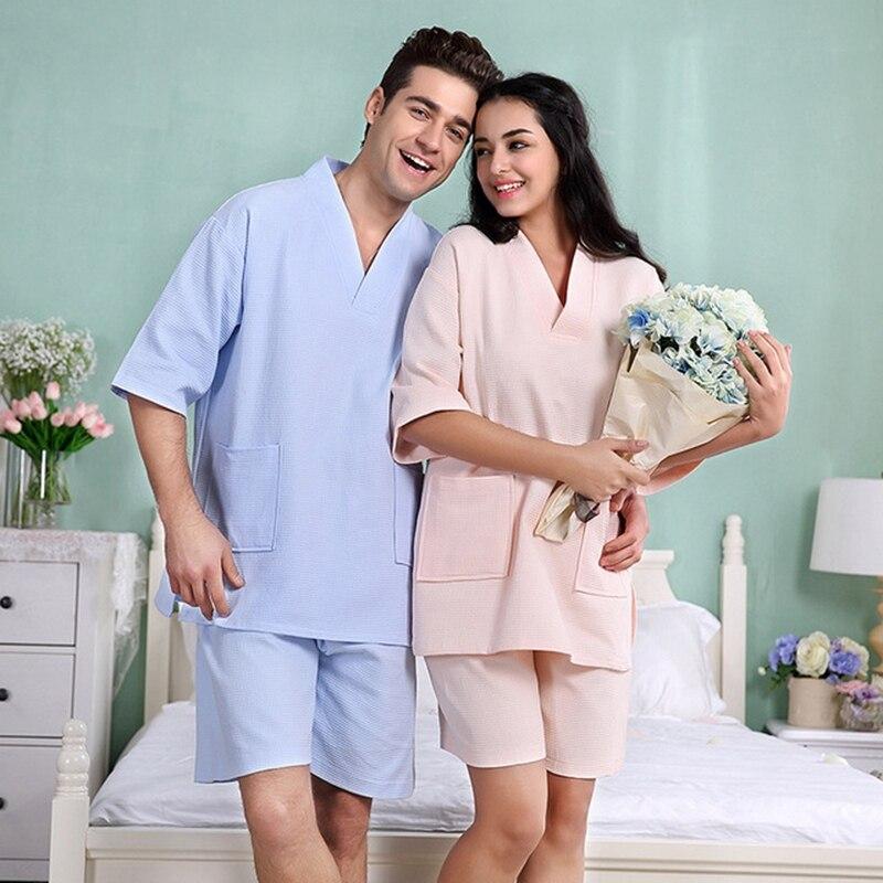Man Homewear Lovers Sweat Steamed Clothes 2PCS Pajamas Set Plus Size 100% Cotton Waffle Sauna Beauty Suit Casual Men's Pijama