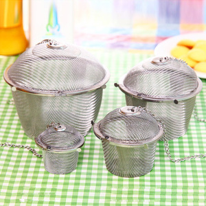 3 Sizes Tea Infuser Spice Seasoning Bag Mesh Tea Ball Strainer Chained Lid Stainless Steel Tea Coffee Filter Kitchen Tools(China)