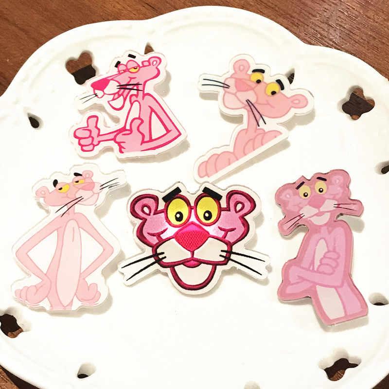 Hot Menjual 5 Pcs Kartun Lucu Pink Panther Nakal Leopard Lencana Di Ransel Gadis Pakaian Ornamen Anak Perhiasan untuk Anak-anak hadiah
