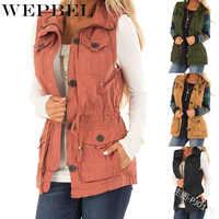 WEPBEL femmes vestes gilet sans manches poches bouton de fermeture éclair automne hiver mode décontracté mince Vintage dames gilets