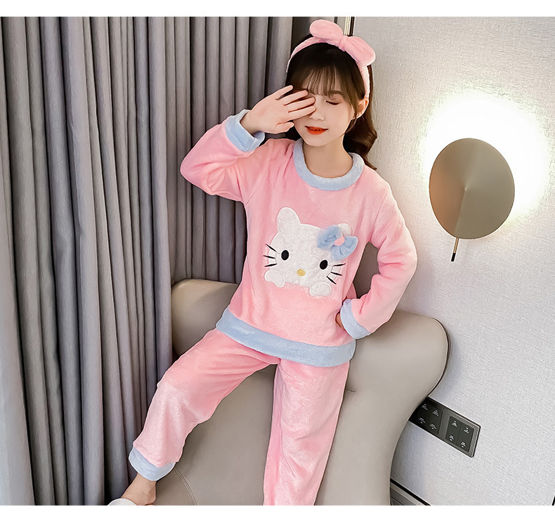 Pijama infantil para meninas e meninos, roupa de inverno quente com calças