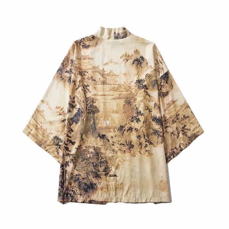 Kimono japonés Chaqueta Hombre Haori Yukata disfraz de samurai ropa Kimono chaqueta Kimono para hombre camisa Yukata Haori