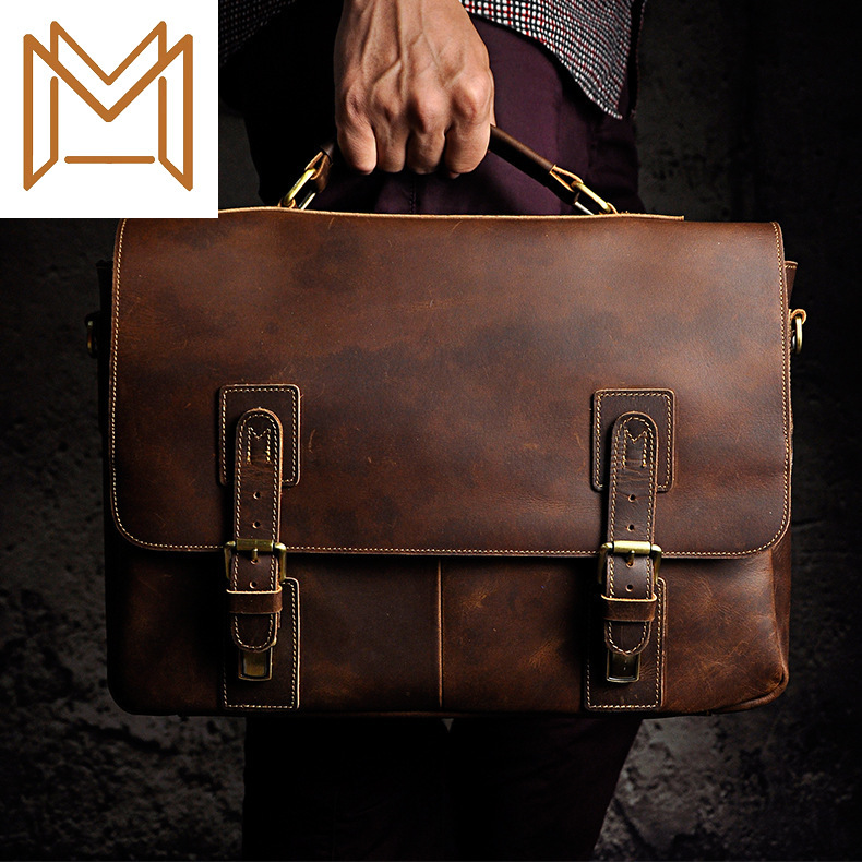 Crazy Horsehide Genuine Leather Man Inch Business Affairs Portable Document Computer Package