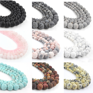 21 Style Natural Stone Beads Matte Dull Polish Agata Picasso Howlite Quartzs Beads for Jewelry Making DIY Bracelet Minerals Bead