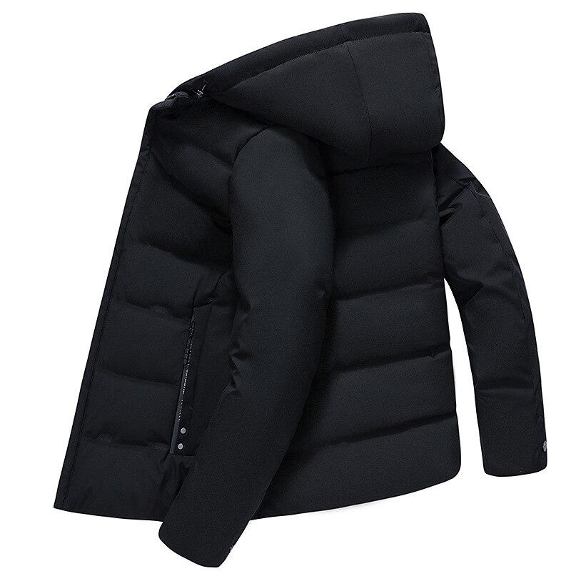 Aismz 2019 зима высокое качество с капюшоном 90% белый утиный пух куртка мужская повседневная Толстая теплая Модная Куртка мужская черная серая к...