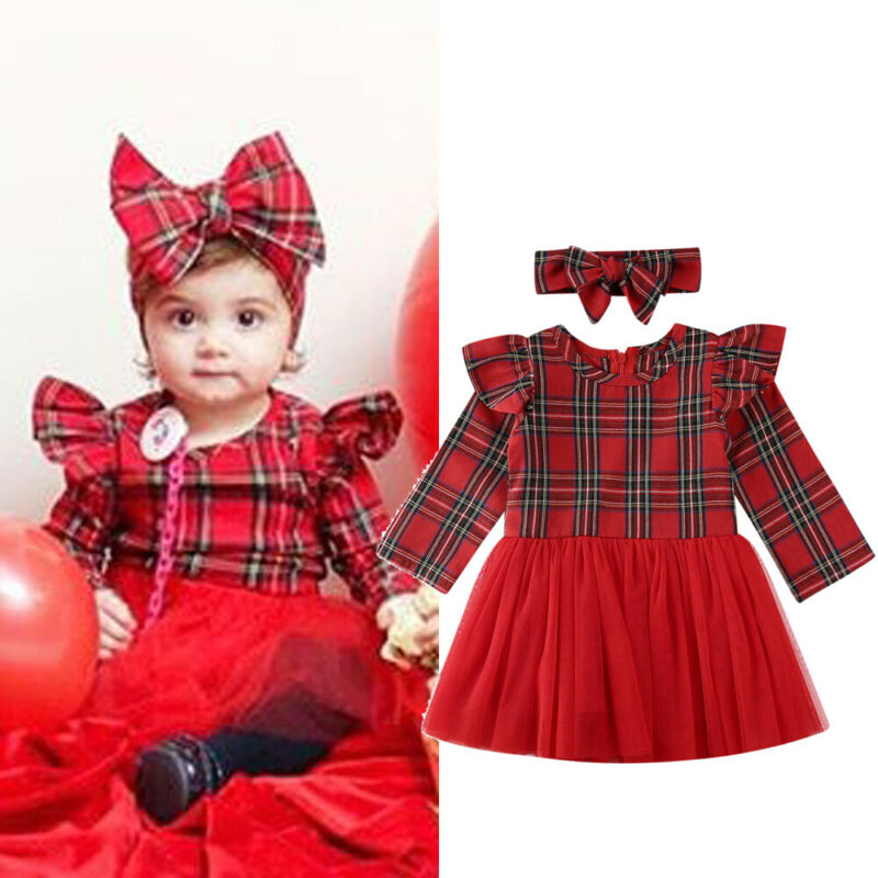 6-36 Months Baby <font><b>Girls</b></font> <font><b>Christmas</b></font> <font><b>Dress</b></font> <font><b>Long</b></font> <font><b>Sleeve</b></font> <font><b>Red</b></font> Plaid Princess <font><b>Dresses</b></font> For <font><b>Girls</b></font> <font><b>Red</b></font> Lace Xmas <font><b>Dress</b></font> <font><b>Girls</b></font> Hairbands Set image