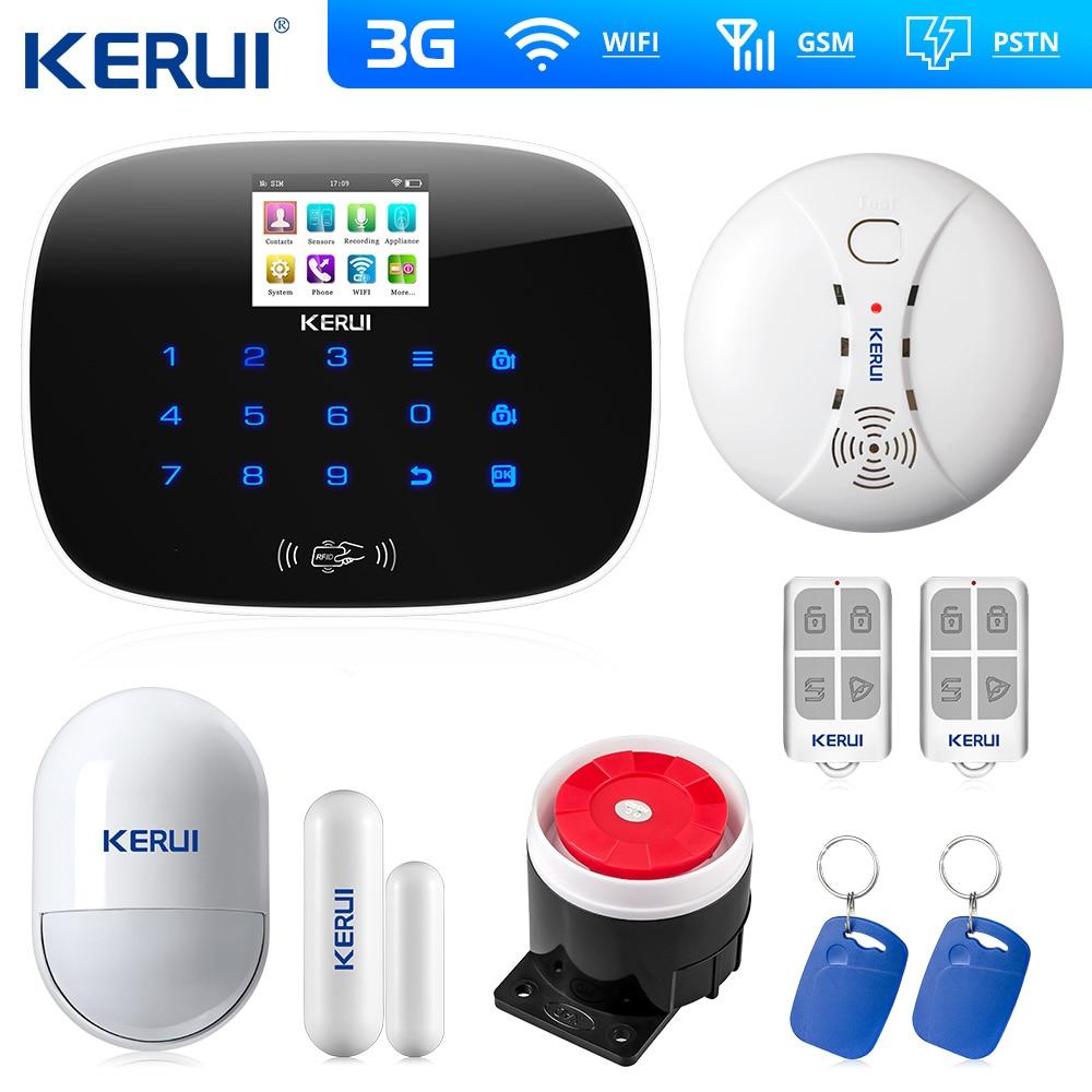 2019 kerui 3g 4g wifi gsm pstn alarme app controle sistema de alarme sem fio rfid assaltante intruder segurança alarme fumaça sensor