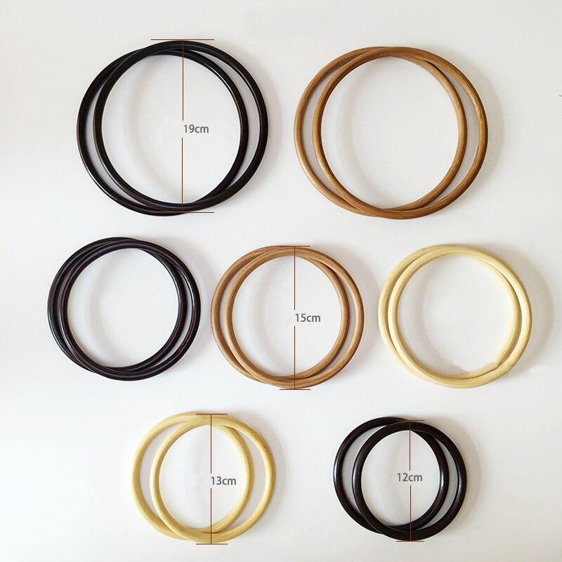 1pairs=2pieces,3 Colors 12cm 13cm 15cm 19cm Bamboo Material Round Ring Knit Bag Handbag Handle,women Purse Weld Circle Handle