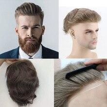 Perruque Lace Front wig 100% naturelle, cheveux humains, brun moyen, Mono Base, système de remplacement, toupet, PU, ferme, naissance des cheveux naturelle, #7