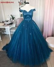Темно синие пышные платья 2020 бальное платье с открытыми плечами