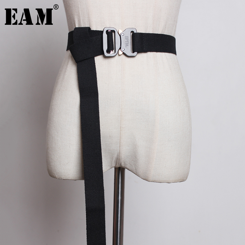 [EAM]  Canvas Multicolor Yellow Metal Buckle Long Wide Belt Personality Women New Fashion Tide All-match Spring 2020 1U216