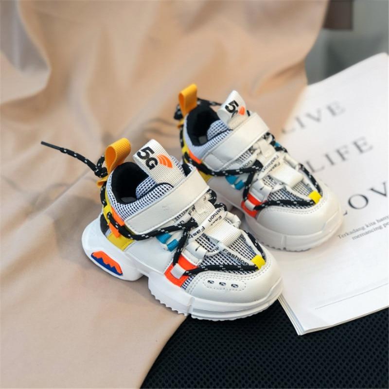春/秋子供の靴ユニセックス幼児ガールズボーイズスニーカー通気性ソフトソールアウトドアシューズテニスファッション子供靴 EU 21 -30