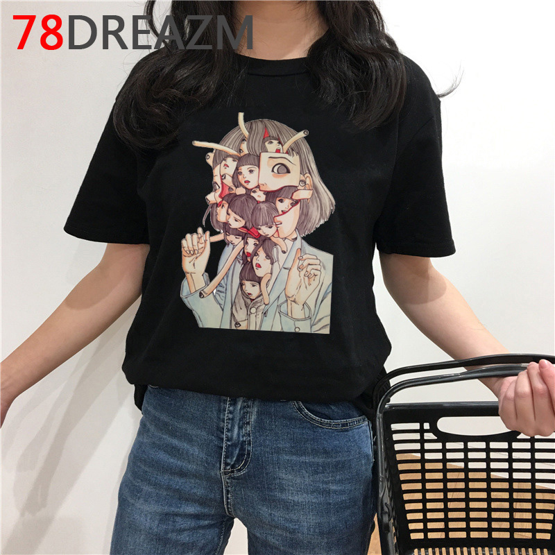 Japanese Manga Junji Ito T Shirt Women Horror Anime Graphic T Shirts Tomie Shintaro Kago Girl Vogue Plus Size T-shirt Female(China)