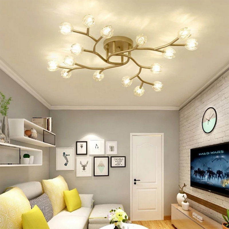modern LED new ceiling lights gold flower Glass lamp Fixture for dining room Living Room Bedroom Design Art Creative lighting in Ceiling Lights from Lights Lighting