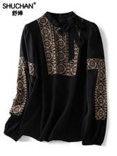Shuchan  Blouse Women Indie Folk Natural Silk Bow Tie Blusas Femininas Elegante Womens Tops and Blouses Long Sleeve Shirts