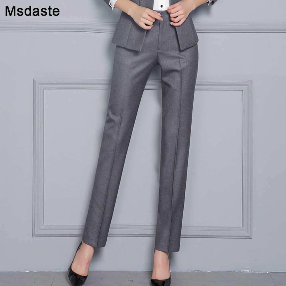 Pantalones Rectos De Oficina Para Mujer Pantalon Formal De Cintura Alta Ropa De Trabajo Talla Grande S 4xl 5xxxxxl Para Otono 2019 Pantalones Y Pantalones Capri Aliexpress