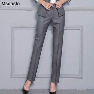 Image 1 - Women Formal Pants 2019 Autumn High Waist Ladies Straight Office Trousers Work wear Big Plus Size S~4XL 5XXXXXL Pantalon Femme