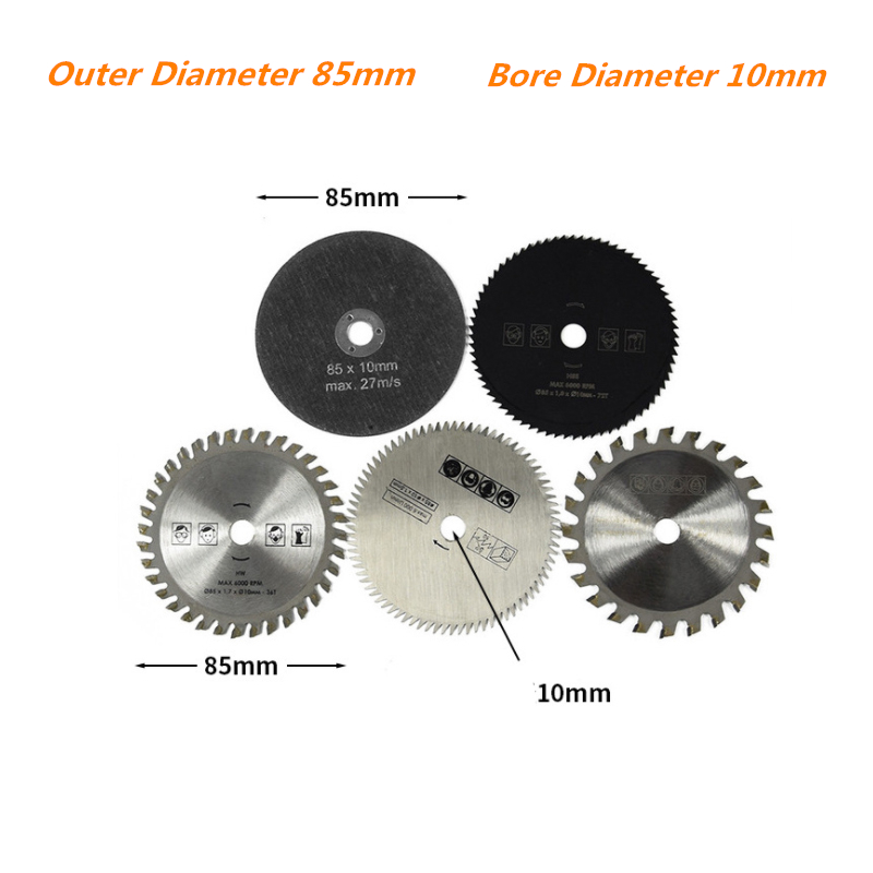 5Pcs 85mm X 10/15mm Cutting Tool Saw Blades HSS Saw Blade Circular Mini Saw Blade For Power Tool