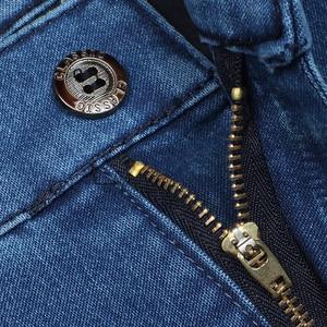 Image 4 - Artı boyutu 30 42 erkekler kaliteli Denim kumaş kot Homme yüksek bel streç düz katı pantolon erkek klasik eğlence pantolon