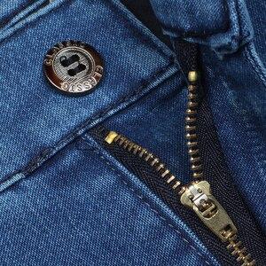 Image 4 - Plus Size 30 42 Degli Uomini di Qualità Del Tessuto Denim Dei Jeans Homme di Alta Della Vita di Stirata Solido Dritto Pantaloni di Sesso Maschile Classico Per Il Tempo Libero pantaloni