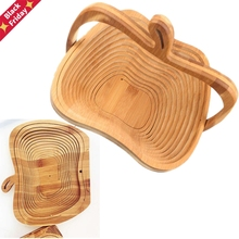 Fruit-Basket Apple-Shaped Storage Bamboo Foldable Environmental Novelty Convenient New