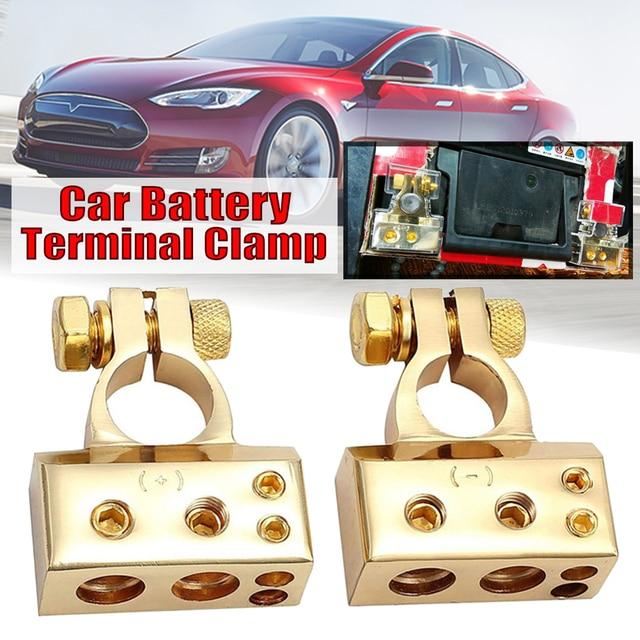 $ 12.12 2pcs Auto Car Positive Negative Battery Terminal Clamp Connector With 4 interfaces for 4GA/6GA/8GA/10GA Power Cable