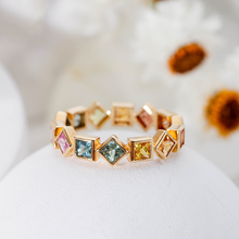 Trendy Female Rainbow Crystal Stone Ring Charm Gold Color Love Wedding Rings For Women Dainty Geometry Zircon Engagement Ring