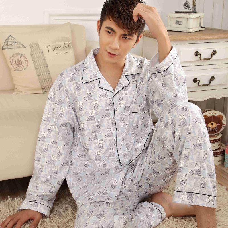 Autumn And Winter Long Sleeve Men's Pajamas Leisure Plaid Shirt Large Pure Cotton Cardigan Home Clothes Men's Suit