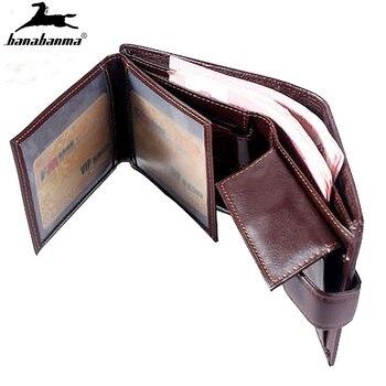 Cartera vintage corta para hombre, Bolso pequeño de bolsillo, portafoglio, uomo, tarjetero,...