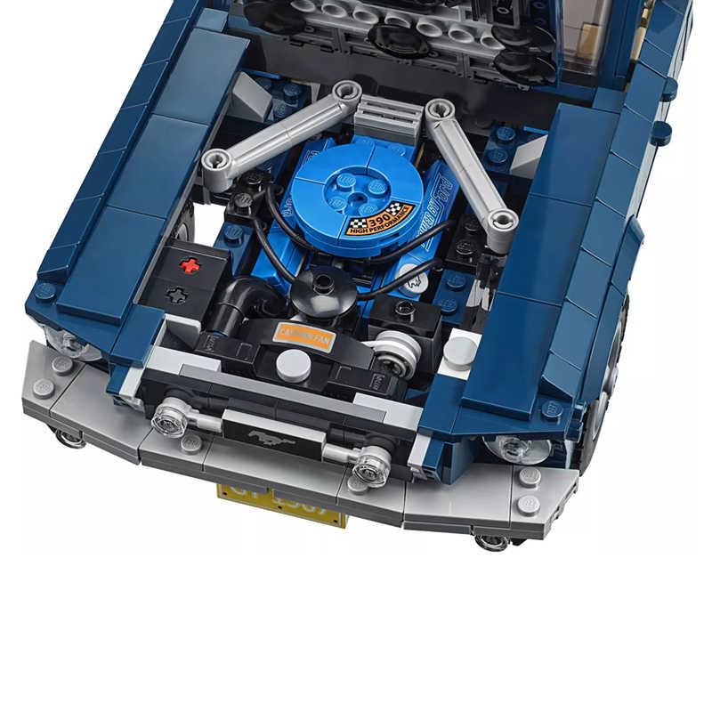 MOC kreator ekspert Technic Retro 1960s Ford Mustang GT samochód sportowy klocki zestaw cegieł zestawy klasyczny Model zabawki prezenty