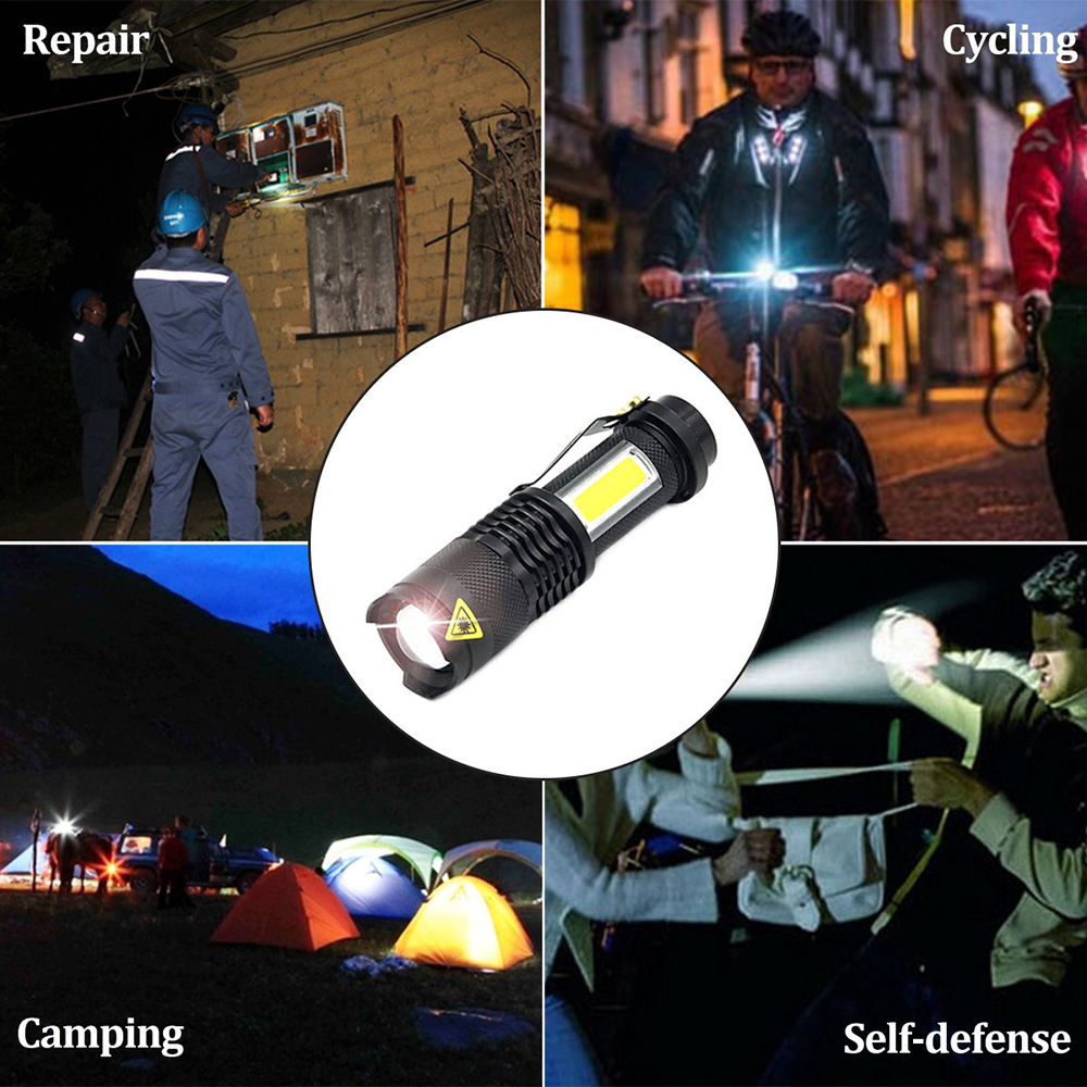 Купить с кэшбэком Portable LED Flashlight Q5 +COB Mini Black Waterproof Zoom LED Torch penlight Use AA or 14500 Battery Lighting lantern