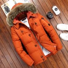 20度冬のジャケットの男性ホワイトダックダウンパーカメンズデザイナーブランド厚く暖かい雪パーカージャケットオーバーコートウインドブレーカーフード付き暖かいパーカー