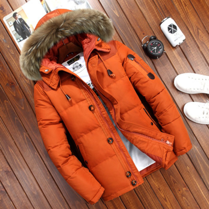 Winter Jacket Parkas Overcoat Hooded Snow White-Duck-Down Men Windbreaker Warm Thick title=