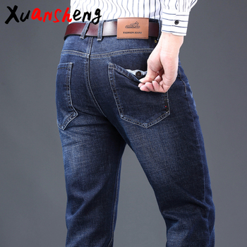 Xuan Sheng straight men's jeans 2019 middle-aged thick dark blue anti-stealing elastic brand classic trousers fashion Wild jeans