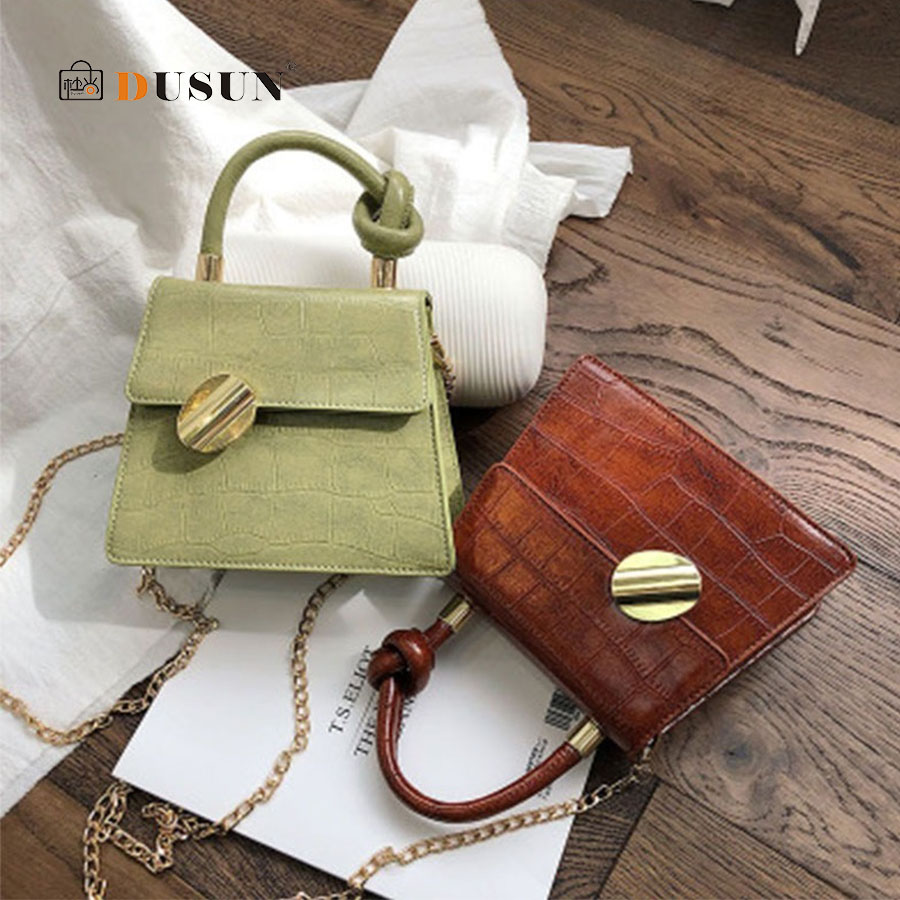 Casual Pu Knot Top-handle Women's Handbags Simple Design Solid Tote Lady Shoulder Bags Chic Lock Crocodile Chain Messenger Bags
