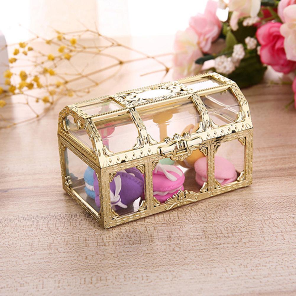 Vintage Transparent Pirate Treasure Storage Box Candy Trinket For Jewelry Crystal Gem Trinket Box Holder Organizer Earrings Ear