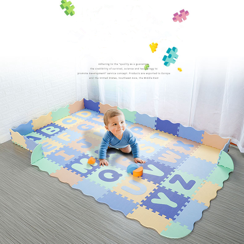 54 pièces EVA mousse Puzzle tapis dessin animé anglais Alphabet motif bébé ramper tapis Puzzle jouets bébé jouer jeu tapis de gymnastique enfants jouets