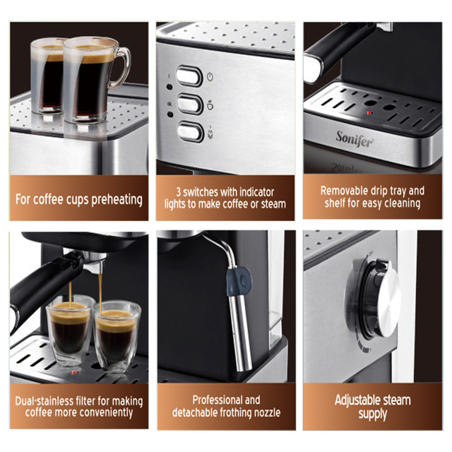 Espresso Electric Coffee Machine Coffee Maker Electric-Horn Cappuccino Capuchinator for Kitchen Household-Appliances Sonifer 4
