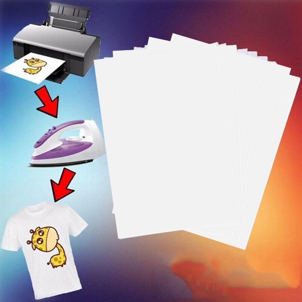 20pcs/Set T Shirt A4 Transfer Paper Iron On Heat Press Light Fabrics Inkjet Print Printing Paper For T Shirts A4 Craft