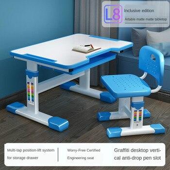 Children's Ergonomic Study Desk Height Adjustable Kids Study Table Chair Set Girls Boys Writing Desk Chair Storage Drawer Kids