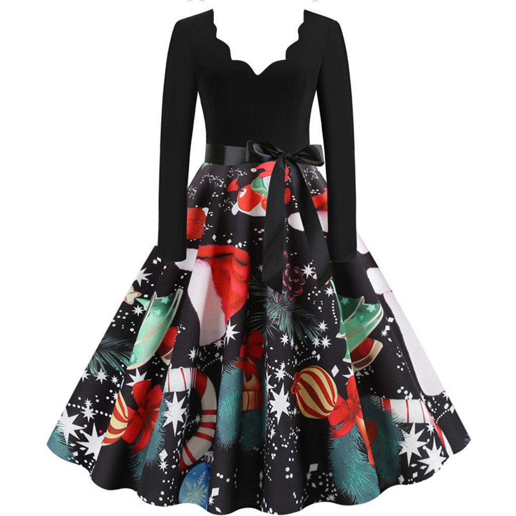 11 Color Vintage Dress Women Plus Size 3XL Sexy V-Neck Long Sleeve Christmas платье Bow Musical Note Print Flare Dress Wholesale